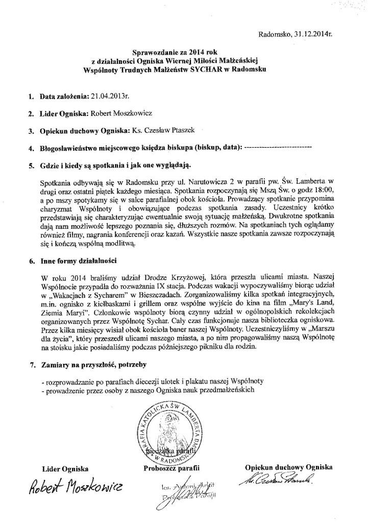Sprawpzdanie za 2014r - Radomsko