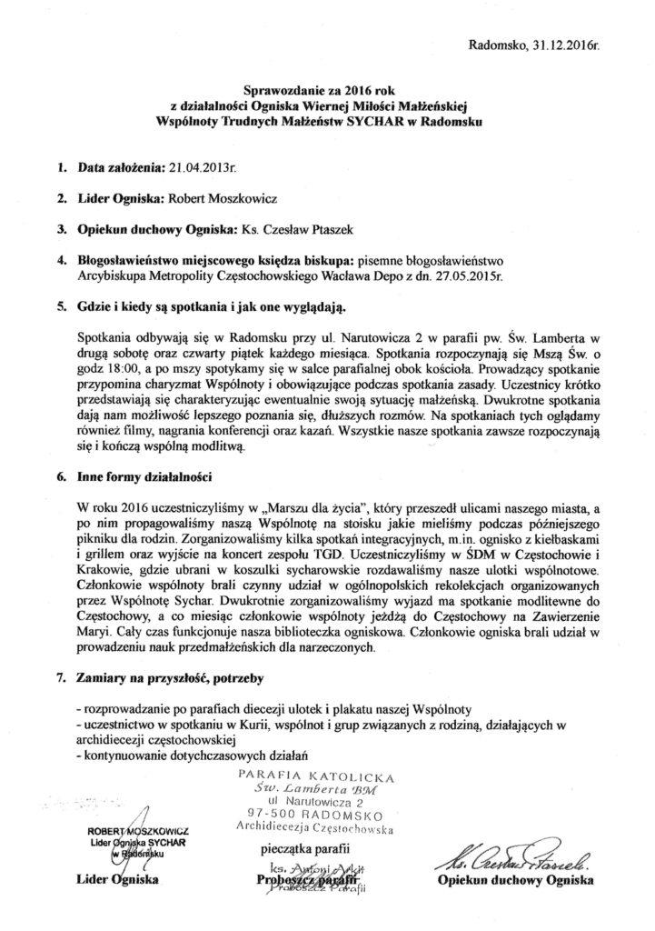 Sprawozdanie Ogniska Radomsko
